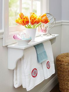 Better-than-Basic Shelf. Love this shelf and towel bar in one!