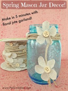 Spring Mason Jar Decor - make your own blooming craft!