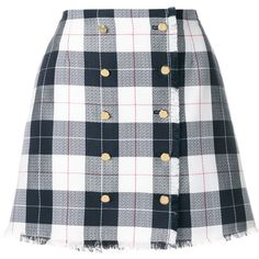 Thom Browne Blend Wool Checked Skirt (4 985 PLN) ❤ liked on Polyvore featuring skirts, mini skirts, bottoms, grey, wool mini skirt, high waisted short skirts, short skirt, formal skirts and high waisted a line skirt