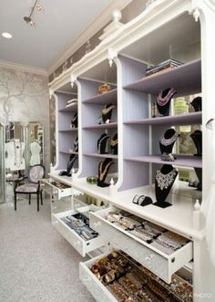 Dream Jewelry Closet aka House of Lavande i could fill this up! Dressing Room Closet, Closet Bedroom, Dressing Rooms, Closet Space, Master Closet, Jewelry Closet, Jewelry Storage, Jewelry Organization, Necklace Storage