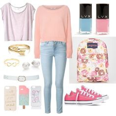 pastel colors by taisfidabelf on Polyvore featuring polyvore fashion style Glamorous Frame Denim Converse JanSport Mikimoto Bling Jewelry Kate Spade Local Heroes ASOS M&Co LVX