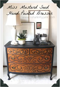 Hand painted oak dresser