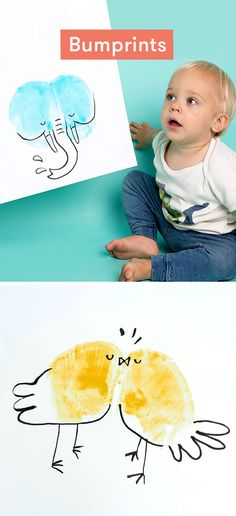 Bumprints are a keepsake activity for toddlers. Kids grow up so fast - one minute they're barely walking and the next they're off with your car. Here's a fun way to remember how small they once were. Just use their little bums like a potato stamp, then turn the print into a funny animal or portrait.