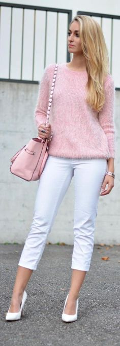 Nice 45 Inspiring Winter White Pants Outfit Ideas. More at https://wear4trend.com/2018/01/12/45-inspiring-winter-white-pants-outfit-ideas/