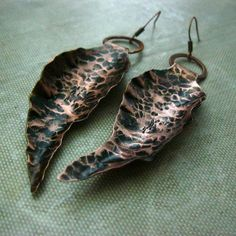 Handforged Copper Leaf Earrings Antiqued by RazielaDesigns on Etsy, $32.00