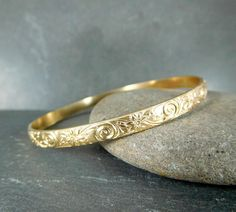 Gold Filled Twill Thin Round Bangle Womens Mens Bracelet Vintage Fashion jewelry