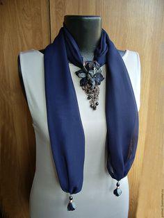 Купить Шарф-колье Полночь - шарф, шарф с подвеской, шарф-колье, шарф-ожерелье