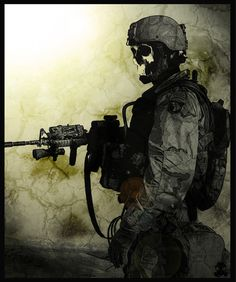 Angel of War Skull Face, Big Guns, Black And White Drawing, Army Soldier