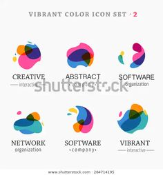Set of trendy abstract, vibrant and colorful icons - stock vector Typographie Logo, Type Logo, Dynamic Logo, Lab Logo, Education Logo, Music Logo, Web Design, Letter Logo, Design Reference