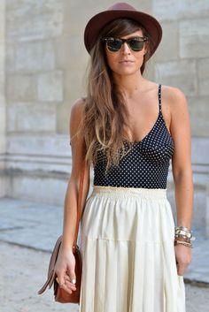string vest, skirt and hat
