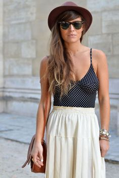 bathing suit and maxi skirt