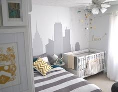 Great idea for a shared room that's not too baby-ish! (PS Babies love high-contrast black and white)