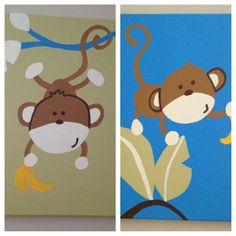 Nursery Kids Room Art Decor  Monkey  Set of 2 by OurFinestHours, $15.00