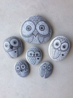Owl rocks painted from Beaches, Toronto