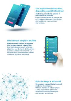 seconde page de la plaquette CoPro Connect, pour présenter l'application en situation. Galaxy Phone, Samsung Galaxy, Applications, Nice, Brochure Template, Logo Creation, Contact Form, Advertising Agency, Infographic