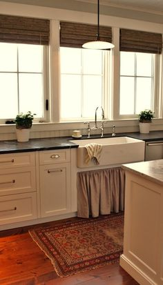 Suzie: For the Love of a House - French kitchen design with blue gray walls paint color, white ...