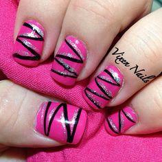 Hot Pink Striped nail art   Photo by vixen_nails