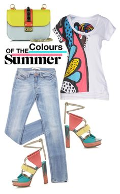 """Colours of the Summer"" by captainsilly ❤ liked on Polyvore featuring Desigual, Jimmy Choo and Valentino"