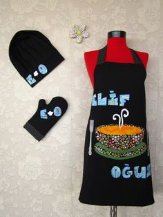 chef cap oven glove and double sided apron great gift new