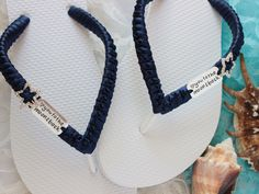 Women flip flops engagement gift - Deep Navy ribbon/star/love you moon- Future bride, mother, girlfriend, bridesmaid, best friend gift Bling Flip Flops, Wedding Flip Flops, White Flip Flops, Bride Shoes, Wedding Shoes, Small Bridal Parties, Custom Flip Flops, Hot Pink Weddings, Navy Ribbon