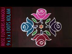 Simple Rose Flowers Rangoli With Dots & Colours. Easy to draw Roja Poo Kolam / Gulabi Poola Muggu With Dots. Rangoli Side Designs, Rangoli Designs Latest, Simple Rangoli Designs Images, Small Rangoli Design, Rangoli Patterns, Rangoli Ideas, Rangoli Designs With Dots, Rangoli Designs Diwali, Rangoli With Dots