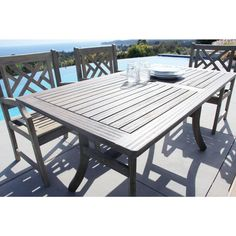Vifah Renaissance 59 in. x 35 in. Hand-Scraped Acacia Patio Dining Table-V1300 - The Home Depot
