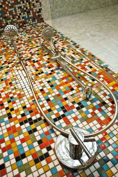 Residential Shower Surround Photo - Kaleidoscope Colorways Jubilee Blend Glass Mosaic Tiles