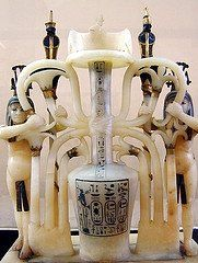 Alabaster perfume bottle from the tomb of Tutankamun's  KV62