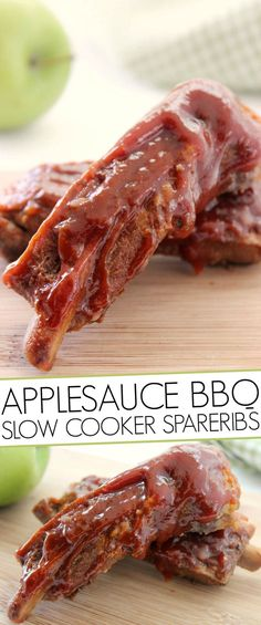 Applesauce BBQ Slow Cooker Spareribs Easy Meat Recipes, Pork Recipes, Healthy Dinner Recipes, Recipies, Diabetic Recipes, Healthy Meals, Delicious Recipes, Yummy Food, Crock Pot Slow Cooker
