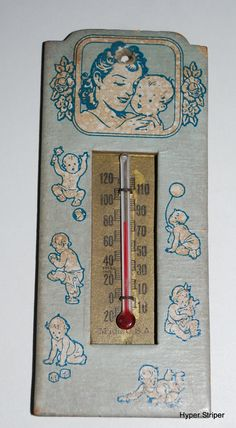 Vintage Nursery Thermometer Room Temperature Blue Baby Boy on Etsy, $19.99