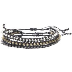 Blackheart Mix Metal Spiked Black Cord Bracelet Set Hot Topic ($15) ❤ liked on Polyvore featuring jewelry, bracelets, spikes jewelry, cord bracelet, mixed metal jewelry, rope bracelet and spike bangle