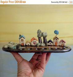 Holidays sale Ceramic Menorah  tiny houses Hanukkah by ednapio