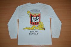 Vintage 90s DUFF BEER Bart Simpsons You Know You want It  Long sleeve L Size rare T-shirt by OldSchoolZone on Etsy