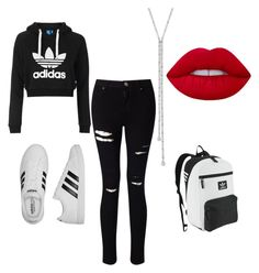 """Adidas Girrrrllll!!!!"" by erickapeterson26 ❤ liked on Polyvore featuring Miss Selfridge, adidas, adidas Originals, Lime Crime and Topshop"