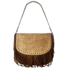 M&F Western Tooled Fringe Shoulder Bag Small (Brown) Shoulder Handbags ($69) ❤ liked on Polyvore featuring bags, handbags, shoulder bags, shoulder strap handbags, vegan handbags, hand bags, brown fringe purse and vegan purses