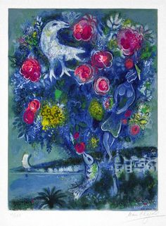 Chagall Lithograph Signed, Angel Bay with a Bouquet of Roses,