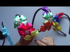 Tiara com flor de cetim - YouTube