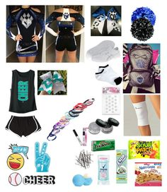 """What's in my cheer bag"" by ti-california-bae ❤ liked on Polyvore featuring Asics, Eos, Wrigley's, H&M, Fantasia and Skinnydip"