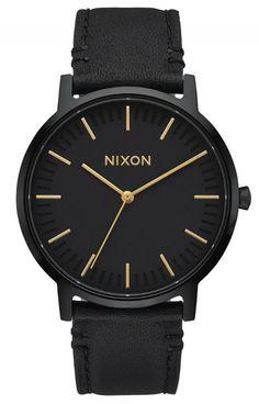 2502ca56874e Nixon Porter Leather All Black   Gold Watch