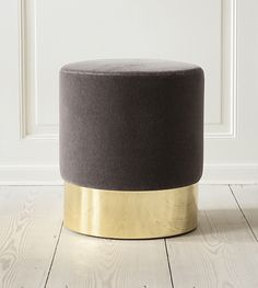 Azucena, Contemporary, Italy. Designed by Luigi Caccia Dominioni, 1963; Stool. Velvet upholstery and polished brass base. H43,5 cm x Ø40 cm