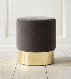 Azucena, Contemporary, Italy. Designed by Luigi Caccia Dominioni, 1963; Stool. Velvet upholstery and polished brass base. H43,5 cm x Ø40 cm