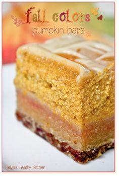 Helyn's Healthy Kitchen: Fall Colors Pumpkin Bars. Vegan. Gluten-free. Oil-free.