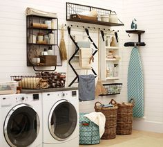 Organized laundry room looks great and has terriffic storage