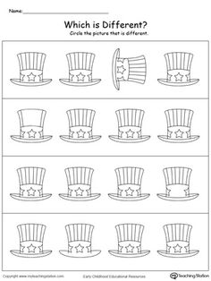 **FREE** Which of July Hat is Different? Practice identifying which hat is different in this patriotic math printable worksheet. Kindergarten Math Activities, Free Preschool, Kindergarten Worksheets, Worksheets For Kids, Preschool Crafts, Preschool Prep, Writing Worksheets, Printable Worksheets, Printable Coloring
