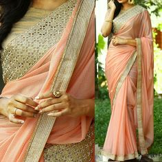 Georgette+&+Lycra+Silk+Lace+Work+Peach+Plain+Saree+-+PRS55 at Rs 1599