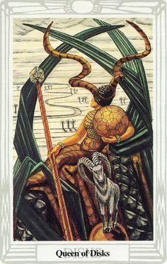 La reine d'écus - Tarot Thoth par Aleister Crowley