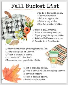 What our Free Printable Fall Bucket List looks like Love FALL? Celebrate by drinking pumpkin lattes, and doing all the favorite fall things using this free printable bucket list! Herbst Bucket List, Fun Fall Activities, To Go, Happy Fall Y'all, Pumpkin Spice Latte, Fall Harvest, Happy Planner, Monthly Planner, Fall Halloween