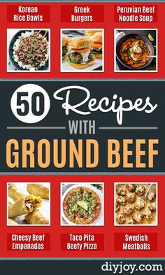 ground beef recipes - Easy Dinners with Ground Beef Recipe Ideas - Quick Lunch Salads Casseroles Tacos One Skillet Meals - Healthy Crockpot Foods With Hamburger Meat - Mexican Casserole Instant Pot Carne Molida Low Carb and Keto Diet - Rice Pasta Potatoes Easy Meat Recipes, Hamburger Meat Recipes, Easy Dinner Recipes, Mexican Food Recipes, Cooking Recipes, Easy Dinners, Meal With Hamburger Meat, Weeknight Dinners, Shrimp Recipes
