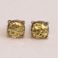 Large Golden Sparkle Stud Earrings Beautiful Large Sparkle Gumdrop Stud Earrings in a Gold color with gold glitter set in the resin stones. Gives an iridescent look. Approximate size of a dime or penny. New. No Trades, No PP. Boutique Jewelry Earrings