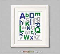 Navy grey and green alphabet baby boy wall art print , nursery Art Print  -8x10-  grey, gray, navy, kelly green, alphabet -UNFRAMED